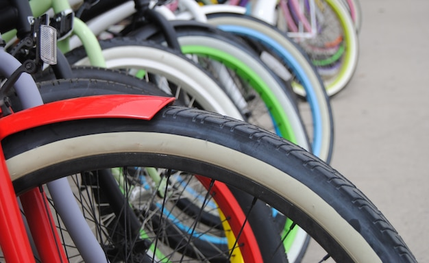 Close up of colourful bicycles
