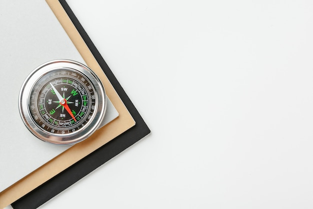 Close up of a compass on a white background
