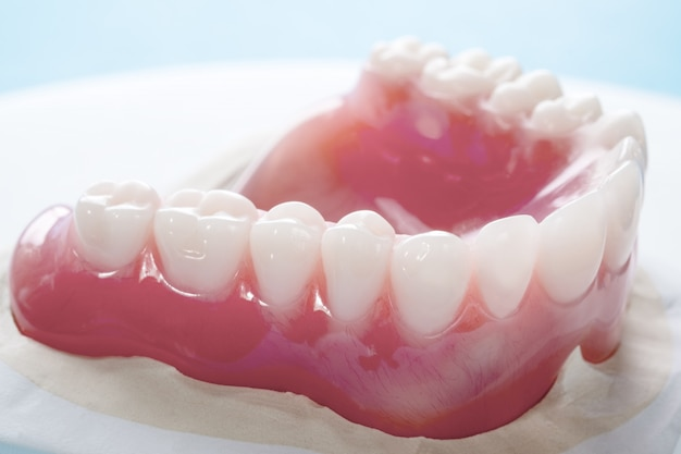 Close up , complete denture or full denture on blue background.