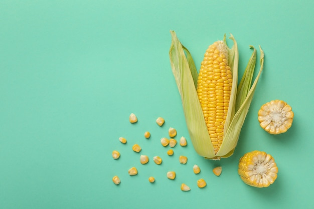 Close up on composition with fresh raw corn