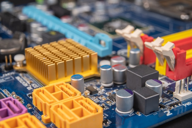 Close-up of a computer motherboard, computer industry concept.