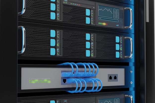 Close up of computer server rack.