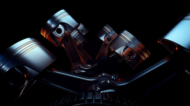 Close up on concept of car engine pistons