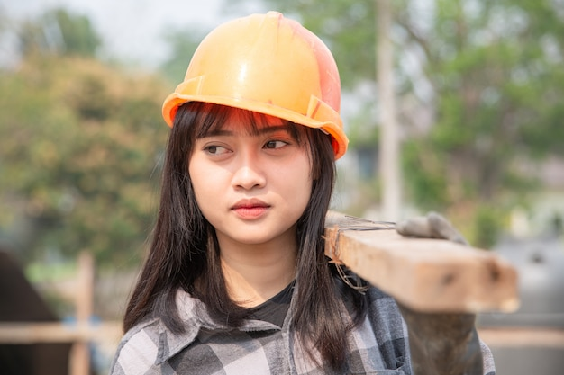 Close up of construction worker in construction site