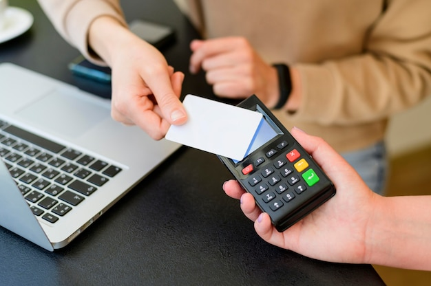 Close-up contactless transaction with credit card