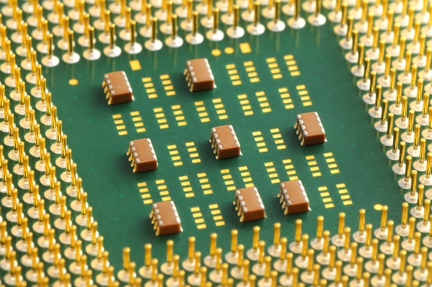 Close-up contacts on the chip under cpu