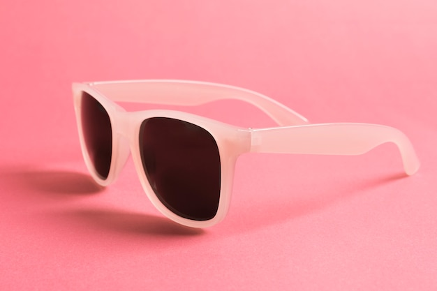Close-up cool pink sunglasses
