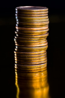 Close up on copper small coins