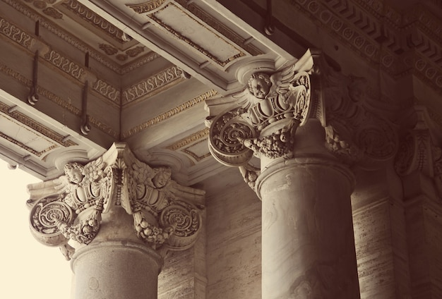 Close-up of corinthian columns of st. peter's basilica in vatican, rome, italy
