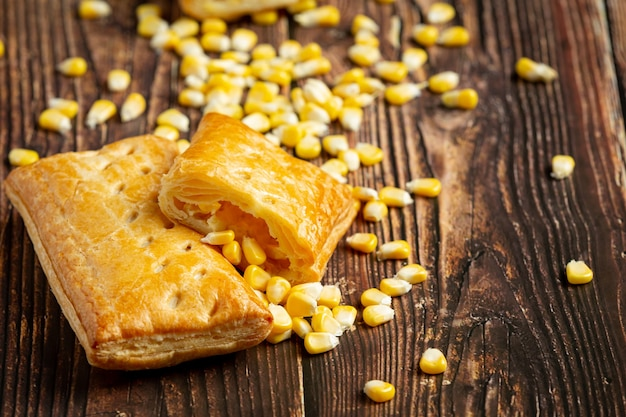 Close up on corn baked pie ready to eat