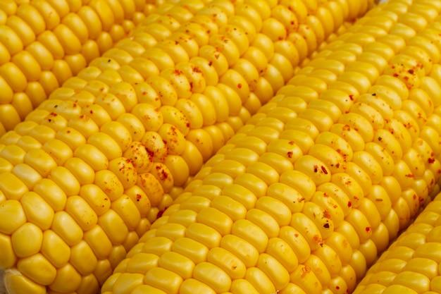 Close-up corn cobs with paprika