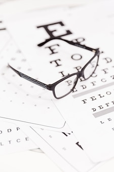 Close-up of corrective spectacle on snellen chart