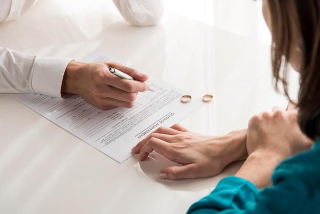 Coppia divorziata in primo piano