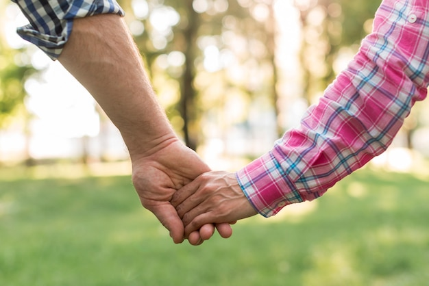 Close-up of couple holding hand walking in park