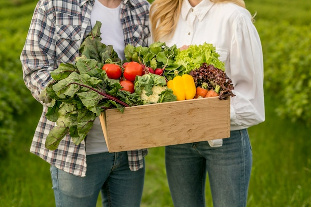 Close-up couple with vegetables basket