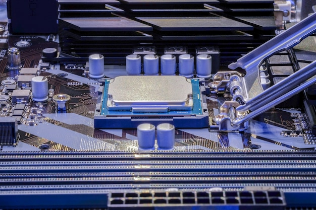 Close-up cpu processor installed on socket of computer motherboard