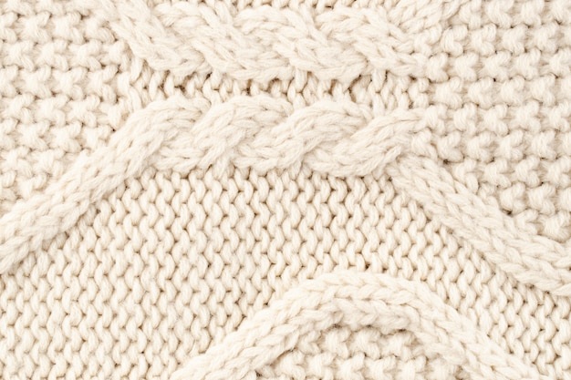 Close-up of cream wool pattern