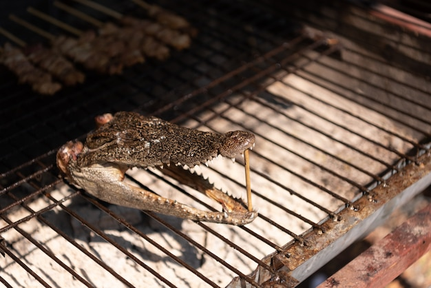 Close up of crocodile head roasted on charcoal stove in street market