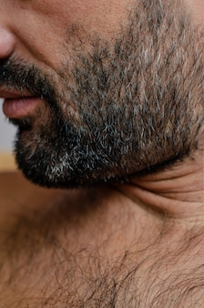 Close-up cropped portrait of a man with gray haired bristle or stubble.