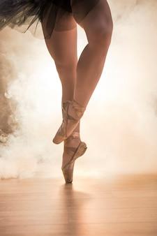 Close up crossed ballerina legs