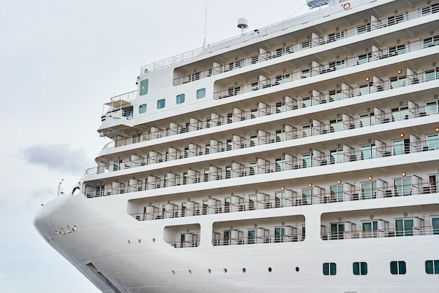 Close up of cruise ship liner docked in the port