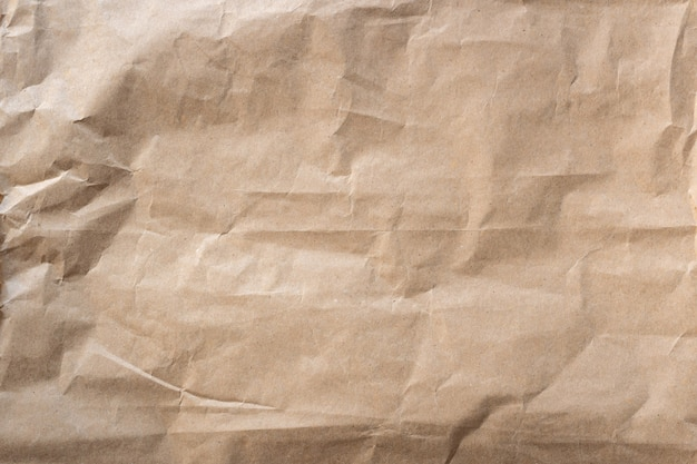 Close up crumpled brown paper texture and background