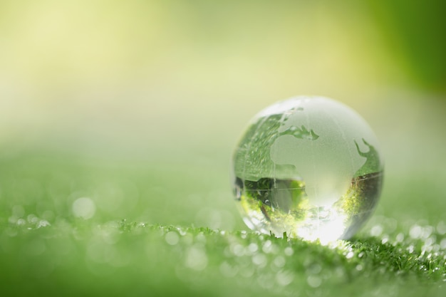Close up of crystal globe resting on grass in a forest