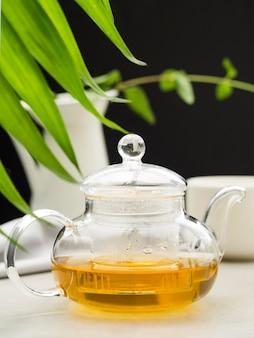 Close-up crystal teapot