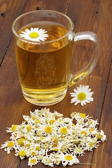 Close up on cup of chamomile tea with dried flowers