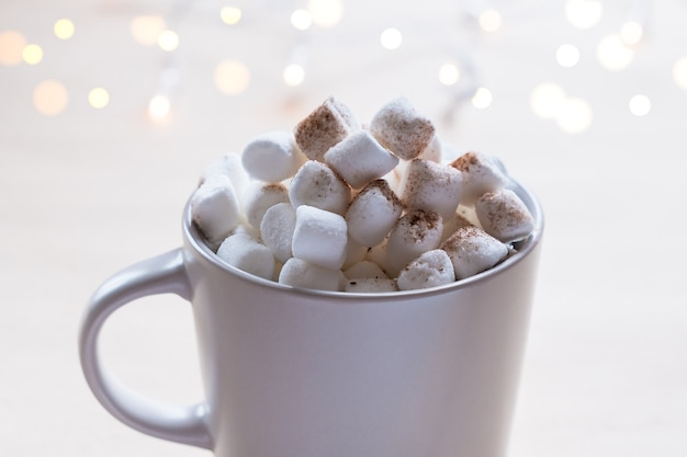 Close up cup of hot cocoa with marshmallows