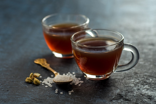 Close-up of cups of tea