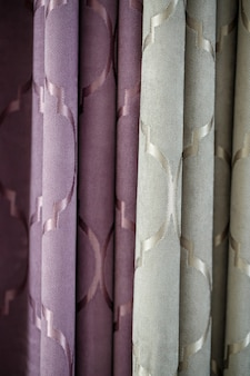 Close up of a curtain. part of the drapery by the window. tulle for windows