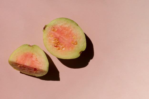 Close up cut guava fruit