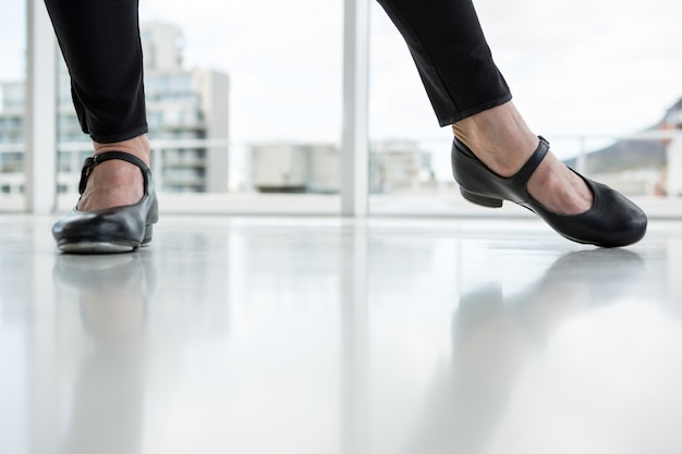 Close-up of dancer wearing tap shoes