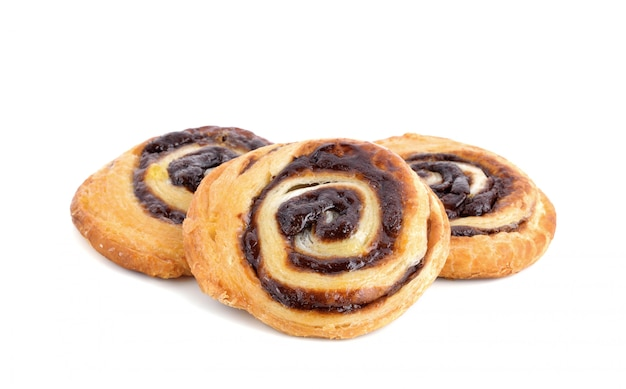 Close up danish pastry isolated