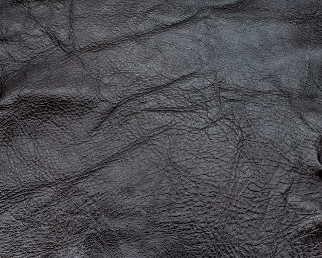 Close up dark brown color crumpled leather texture background