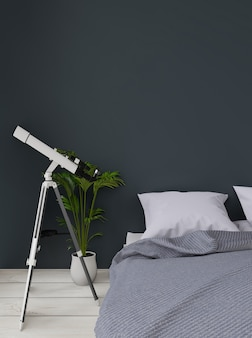 Close up dark green modern bedroom with plant and telescope