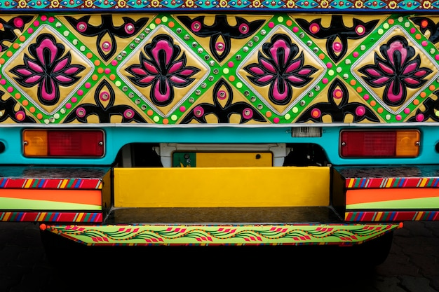 Close up of a decorated pakistani truck