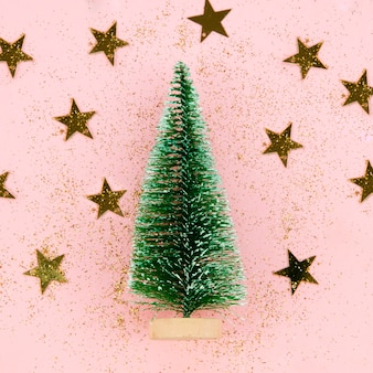 Close-up decoration tree with golden stars
