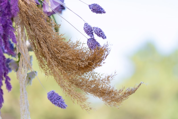 Close-up decoration with fresh flowers of venues. sprigs of lavender