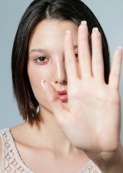 Close-up of defocused hand