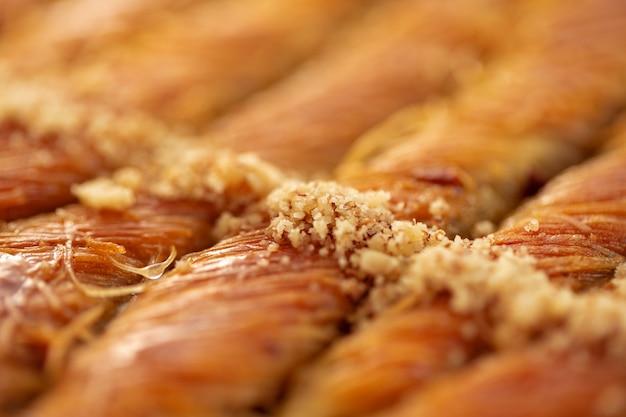 Close up of delicious baklava at a hotel buffet