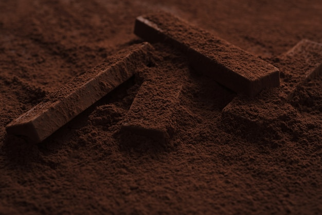 Close-up of delicious chocolate bar pieces laying in chocolate powder