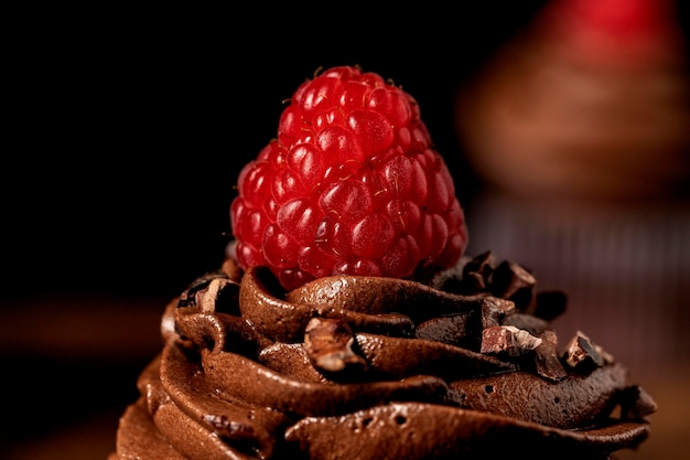 Close-up of delicious chocolate cupcakes with raspberry