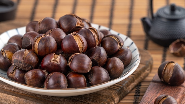Close up of delicious cut roasted chestnuts