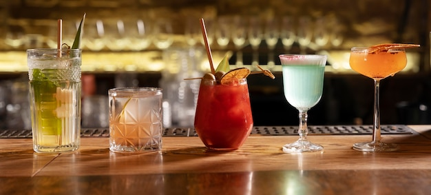 Close up on delicious drinks