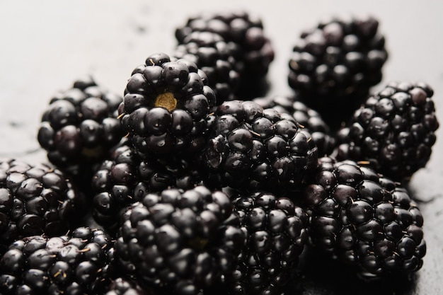 Close-up of delicious fresh blackberries with water drops.