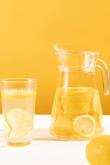 Close-up delicious jar of lemonade