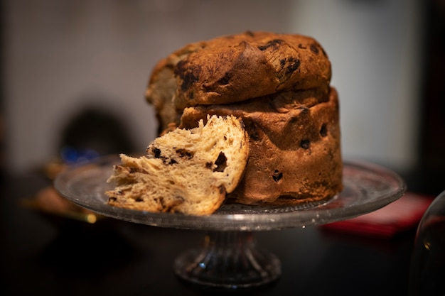 Close-up delicious panettone