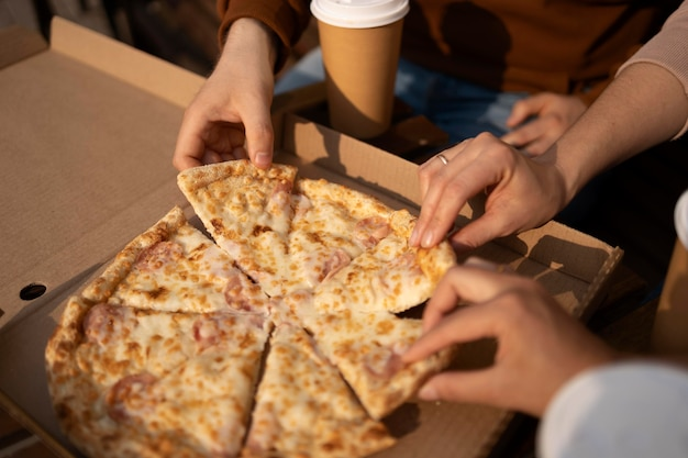 Close-up of delicious pizza in a box